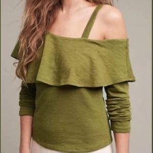 NWT Anthro Postmark Olive Green One Shoulder Top-S
